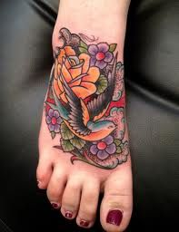 American traditional tattoos, on the feet, OK. . .  actually very pretty!