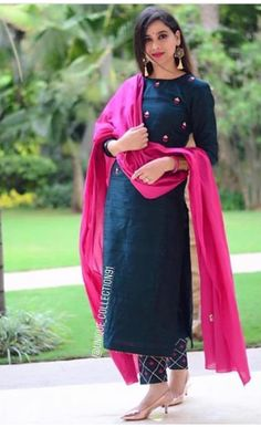 Indian designer suits - Teal & Pink Cotton Straight Salwar Suit Teal Cotton Straight Festive Best Salwar Suit Collection On Casual Look Salwar Designs, Kurti Neck Designs, Kurta Designs Women, Kurti Designs Party Wear, Indian Kurtis Designs, Cotton Kurtis Designs, Plain Kurti Designs, Latest Salwar Suit Designs, Dress Indian Style