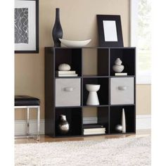 Enjoy customized storage with the help of the Mainstays 9 Cube Organizer Bookcase . You can adjust the shelf height and position of the four open and. Ikea Storage, Cube Storage, Storage Spaces, Fabric Storage, Home Design, Ikea Cubes, Bookcase Organization, Cube Organizer, Interior Design