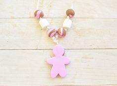Necklace gingerbread figure holiday christmas winter by poppyshome