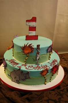 Dr. Suess themed birthday cake. Dessert Works Bakery. Westwood, MA