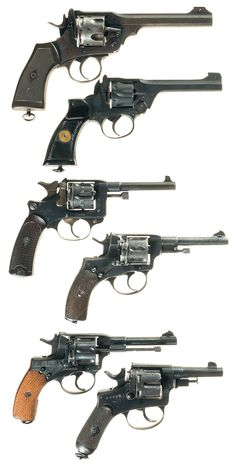 Six European Military Double Action Revolvers - top to bottom A) Webley & Scott Mark VI Revolver (UK) B) Enfield Mk 1 (UK) C) St Etienne 1892 (French) D) Nagant Model 1895 (Soviet) E) Nagant Model 1895 (Soviet) F) Italian Model 1889 Officers Revolver Military Weapons, Weapons Guns, Guns And Ammo, Webley Revolver, Revolver Pistol, Military Girlfriend, Military Spouse, Fire Powers, Cool Guns