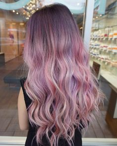 ombre purple hair color | long hairstyle | curly | pastel | lavender | pink | light | cotton | highlight
