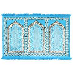 Muslim Multiple People Prayer Rug Mat 5.2' x 3.6' Baby Blue with Tassels #PM503