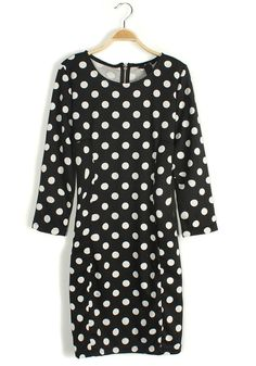 9f3c6e44e73c8 Black Polka Dot Print Wrap Cotton Blend Dress Vintage Inspired Outfits,  Retro Outfits, Cool