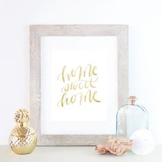 Gold Typography, Typography Prints, Home Print, Home Sweet Home, Home Decor, Printable Wall Art, Gold Wall Art, Gold Text, Hand Lettered