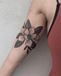 Magnolia fever. #tattoos #tattoo #blacktattooart #btattooing…