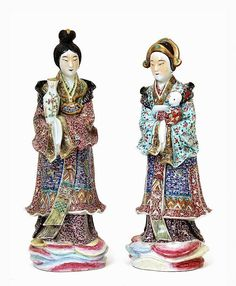 2 Old Chinese Famille Rose Figurine Parent & Baby Sg
