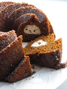 Gingerbread Bundt Cake with Cream Cheese Filling #vegan  (my favorite vegan cream cheese is tofutti! ....tastes like Italian mascarpone!)