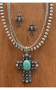 M&F Western Products® Silver Cross with Turquoise Necklace and Earrings Jewelry Set | Cavender's