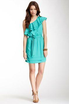 Single One-Shoulder Ruffle Overlay Dress by Single on @HauteLook