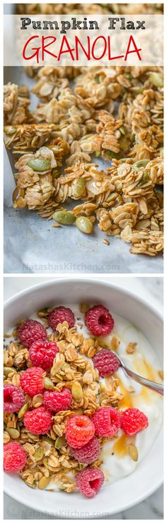 Pumpkin Flax Granola Recipe. This Granola is crunchy, clustery and sweetened with honey and maple syrup | natashaskitchen.com