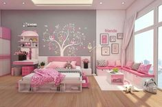 Kids Bedroom Designs, Home Room Design, Room Ideas Bedroom, Kids Room Design, Bedroom Decor, Little Girl Bedrooms, Pink Bedrooms, Girls Bedroom, Study Room Decor