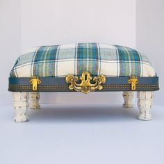 Pet Bed from Vintage 40s Suitcase Top - Dark Blue with Blue and Cream Tartan Plaid Fabric. $80.00, via Etsy.