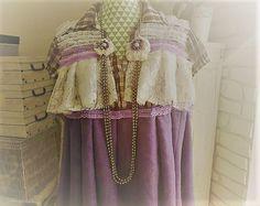 Top bohème coachella, violet et blanc, coton à rayures, voile de coton et dentelle. Style Stevie Nicks, esprit hippie gypsy. de la boutique PinkWaterShop sur Etsy
