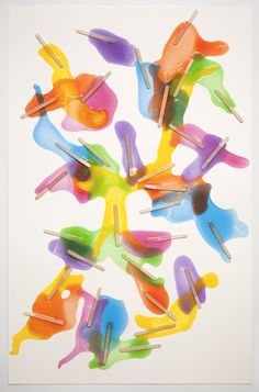 "evanrobarts: ""Popsicle Composition no.7, 2011 Gloss medium, ink, popsicle sticks on paper 24"" x 36"""""