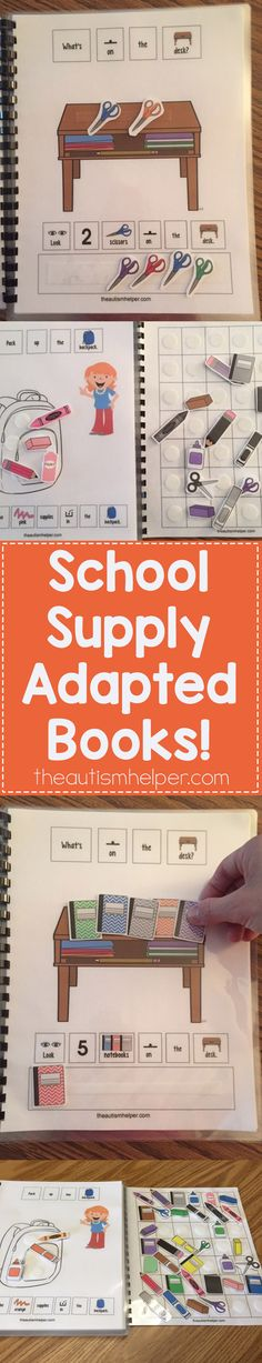 School Supply Adapated Books help focus on getting ready for school, school supply vocab, & learning basic concepts such as colors, counting & sequencing. Perfect for center time or small group instruction! From theautismhelper.com