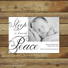 Christmas card or birth announcement, sleep in heavenly peace