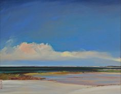 """Jo Brown, """"Big Pink Cloud,"""" (2011), oil on archival canvas board, depicting Cape Cod Bay seascape, water view, low horizon, blue sky, luminist style"""