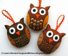 Owl Ornaments tutorial from Bugs and Fishes