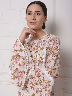 Buy Pink Block Printed Cotton Kurta and Kota Dupatta with Lace Details (Set of 2) Online at Jaypore.com Shopping Coupons, Cut Work, Lace Detail, Printed Cotton, Floral Tops, Kurta Cotton, Bell Sleeves, Clothes For Women, Nails Design