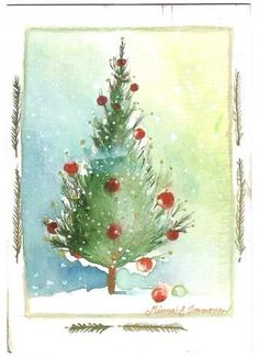 Postcrossing postcard from Finland Painted Christmas Cards, Watercolor Christmas Cards, Christmas Drawing, Christmas Paintings, Watercolor Cards, Christmas Art, All Things Christmas, Christmas Decorations, Watercolor Painting Techniques