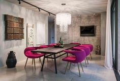 Cool colourful accent in a grey room
