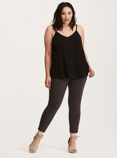 $35 | Plus Size Strappy Swing Cami, DEEP BLACK | Torrid