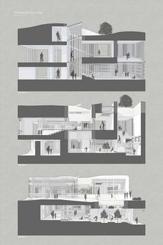 feeel, design, Connecting designers to the World Section Drawing Architecture, Architecture Graphics, Japanese Architecture, Concept Architecture, Architecture Design, Planer Layout, Architecture Presentation Board, Minecraft Architecture, Architectural Section
