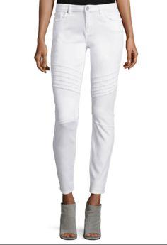 NWOT $198 Elie Tahari Womens Azella White Distressed Denim Raw Hem Jeans 24  #ElieTahari #SlimSkinny