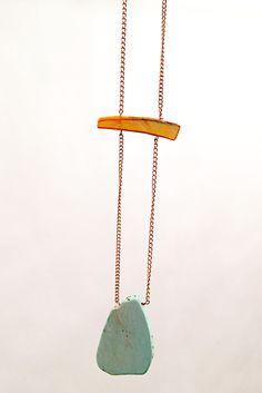 Turq Stone with Metallic Shell Bar Chain Necklace