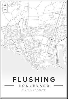 minimalist Google Maps rendering of beloved hometown Flushing