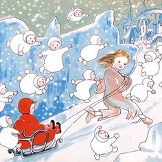 """Ride through the snowscape with vintage illustration and cosy, fireside stories in WINTERTIME TALES. Here """"Marilyn and the Snow Children"""" by German artist Sybille von Olfers, 1905."""