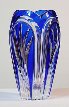 Caesar Crystal - Fountain Vase - Cobalt