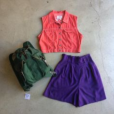 Adventure Chic..Colorful Tomb Raider..Smokey The Bear but make it fashion...whatever you wanna call it but don't call it boring!! ⛺️ Purple dead stock silk shorts, elastic in back, fits sizes 24-28, $24 + $8 domestic shipping. Red Armani crop vest, $28 + $8 domestic shipping and forest green vintage canvas backpack, $42 + $16 domestic shipping. Call 415-796-2398 to purchase by phone or send PayPal payment to afterlifeboutique@gmail.com and reference item in post