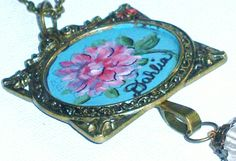 Vintage Floral Hand Paint Pendant Boho by GoddessArtCollection