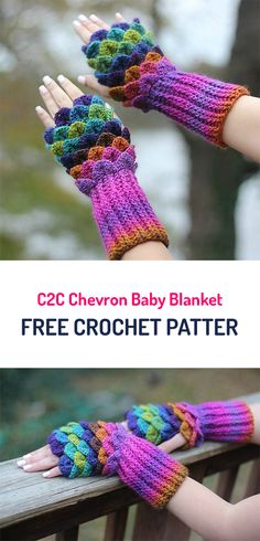 Crocodile Stitch Gloves Free Crochet Pattern #crochet #crocheting #crocheted #yarn #handmade #crafts