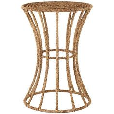 Selamat Designs Jute Spool Spot Table Brown By (300 CAD) ❤ liked on Polyvore featuring home, furniture, tables, accent tables, selamat designs, brown table, brown's furniture, brown side table and brown end tables