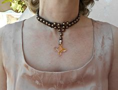 Cross choker Pearl necklace choker Cross pendant necklace