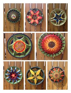 Hubcap garden art More