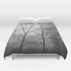 This is a duvet cover with my photograph printed on it. I took this photograph of the trees on a beautiful foggy day. Please choose your size in the drop down menu above: Full (79x79), Queen (88x88) or King (104x88).  About the duvet cover:  - Made of ultra soft microfiber - Sewn by hand - lightweight - The reverse side of the duvet cover is soft white. - The duvet cover has a durable and hidden zipper.  Care:  - Machine wash with cold water on gentle cycle using mild detergent.  <> Please…