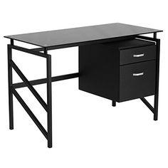 A Line Furniture Elies Black Powder-coated Metal Two-drawer Pedestal Glass-top Desk
