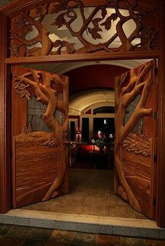Really cool wood carved ornamental like set of doors. Kind of creates a cool scene as an entrance