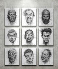 Faces gribouillées