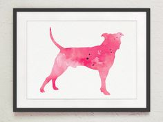 Pitbull Wall Art watercolor pit bull wall art, pit bull art, silhouette art print