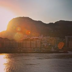 Sun breaks over the Rock of Gibraltar.