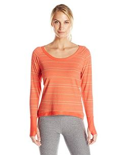 tasc Performance Womens Bywater HighLow French Terry Fleece Printed Pullover Sweatshirt Hot Coral Dash Stripe Small -- Learn more by visiting the image link.
