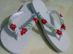 Crochet Flip Flops, Slide Flip Flops, Beaded Sandals, Slippers, Beads, Charlotte, Shoes, Decorated Flip Flops, Towels