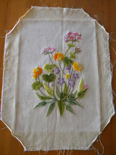Special Listing for Adela -Vintage Botanical Embroidery - Completed Flower Embroidery Designs, Types Of Embroidery, Silk Ribbon Embroidery, Hand Embroidery Patterns, Vintage Embroidery, Cross Stitch Embroidery, Embroidery Materials, Embroidery Software, Embroidery Digitizing