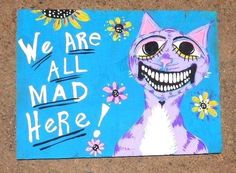 Cheshire Cat Primitive Original Outsider Raw Folk Painting  Alice in Wonderland #Abstract